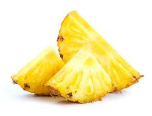 pineapple pieces isolated on white background