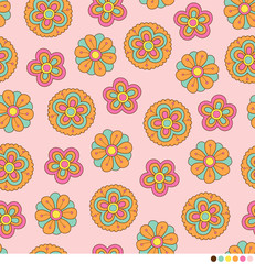Cute pastel floral seamless pattern