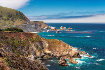 Beautiful View of the California Coastline along State Road 1.