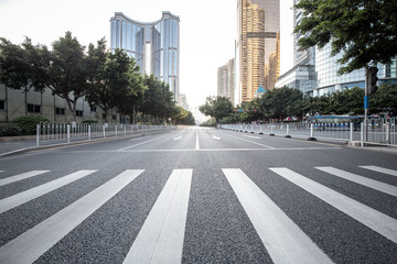 Road with zebra crossing in the city