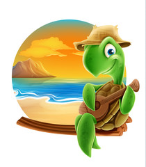 turtle cartoon for beach summer