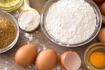 eggs and flour basic ingredients for baking.
