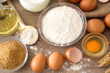 top view on basic ingredients for baking.