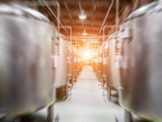Modern Beer Factory. Steel tanks for beer fermentation