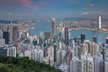 Hong Kong city aerial view from the Peak, cityscape downtown background