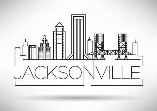 Minimal Jacksonville Linear City Skyline with Typographic Design