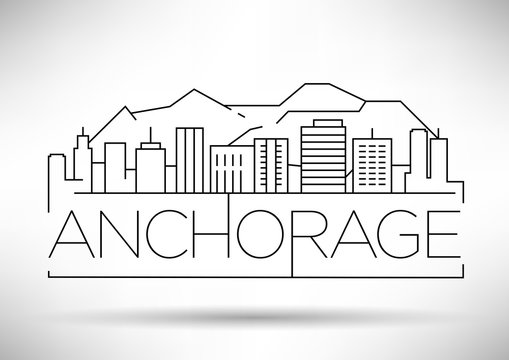 Minimal Anchorage Linear City Skyline with Typographic Design