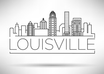 Minimal Louisville Linear City Skyline with Typographic Design