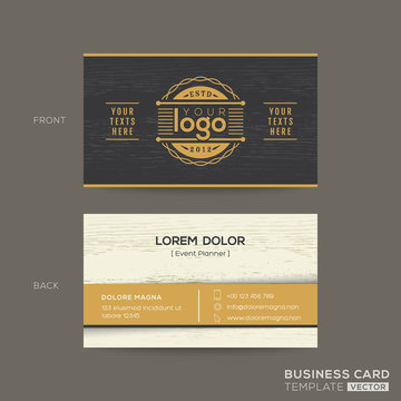 business card with wood pattern background