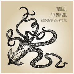 Hand Drawn Sea Monster - Giant Squid