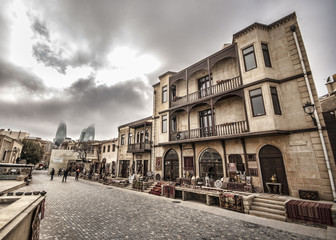Empty street in old city of Baku, Azerbaijan. Old city Baku. İnner City buildings.