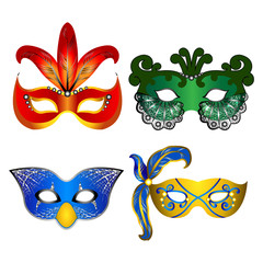 Colorful carnival masks vector illustration