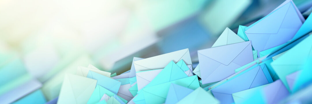 Infinite mail envelopes, 3d rendering background
