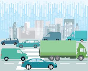Großstadt Straße mit Straßenverkehr