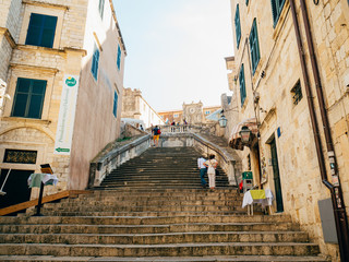 Dubrovnik Old Town, Croatia. Inside the city, views of streets and houses. Photos inside the city.