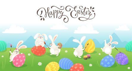 Happy Easter greeting card. Cute Easter bunnies drawing on colorful eggs. Fun illustration of rabbits and eggs on grass.