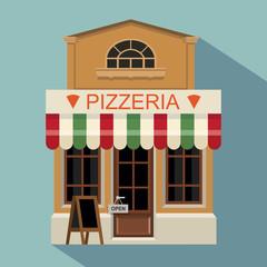 Illustration of pizzeria little cute retro store shop or boutique