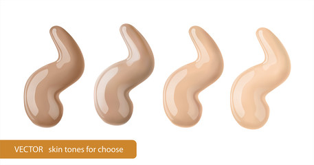 Cosmetic liquid foundation , makeup concealer paint. 3d vector tone promo for different skin color type