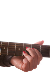 Close-up of woman playing acoustic guitar over the white background