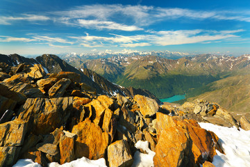 View from Similaun Peak, Ötztal Alps, Austria