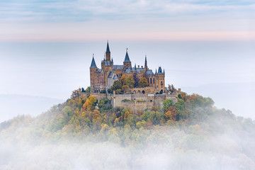 German Castle Hohenzollern over the Clouds Fototapete