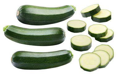 Zucchini whole pieces set isolated on white background