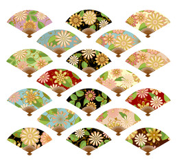 The fans set isolated on a light background. Vector set of isolated fans.