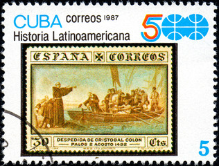 UKRAINE - CIRCA 2017: A stamp printed in CUBA shows group of Spanish conquistadores, series History of Latin America, circa 1987