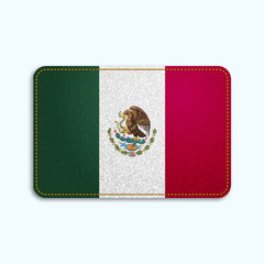 National flag of Mexico with denim texture and orange seam. Realistic image of a tissue made in vector illustration.