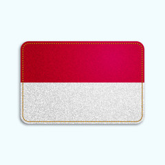 National flag of Monaco and Indonesia with denim texture and orange seam. Realistic image of a tissue made in vector illustration.
