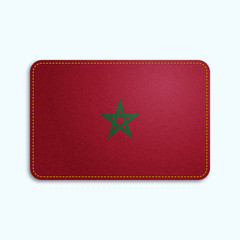 National flag of Morocco with denim texture and orange seam. Realistic image of a tissue made in vector illustration.