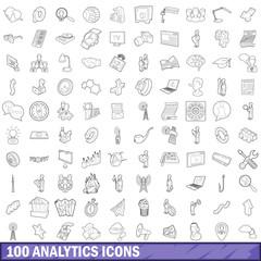 100 analytics icons set, outline style