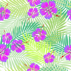 Tropical green palm leaves with exotic purple hibiscus flowers. Seamless colorful beach pattern with tropic motif for wrapping paper, wallpaper design, banner. Jungle summer holiday texture