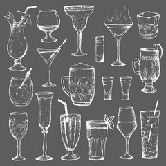 Cocktails - set of 18 white hand-drawn drinks