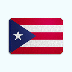 National flag of Puerto Rico with denim texture and orange seam. Realistic image of a tissue made in vector illustration.