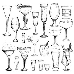 Cocktails - set of 20 hand-drawn drinks