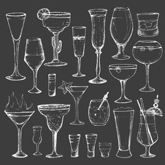 Cocktails - set of 20 white hand-drawn drinks