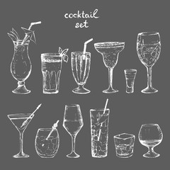 Cocktails - set of white hand-drawn drinks