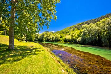 Idyllic Krka river in Knin landscape