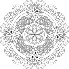 Black and white floral pattern for adult coloring book. Floral vector elements for design. Good for design of wrapping and textile.