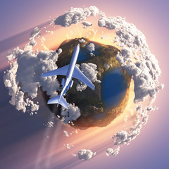 Airplane flying over the Earth