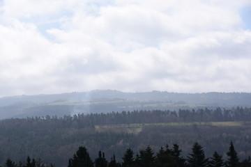 Poster Morning with fog Wolkenhimmel