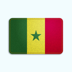 National flag of Senegal with denim texture and orange seam. Realistic image of a tissue made in vector illustration.