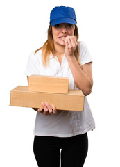 Frightened delivery woman