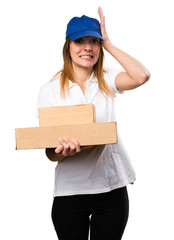 Delivery woman having doubts