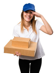 Delivery woman showing something