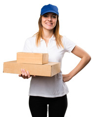 Happy delivery woman