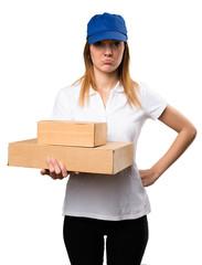 Sad delivery woman