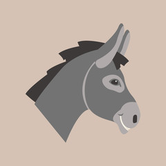 donkey head face  vector illustration style Flat
