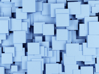 Abstract geometric shape from cubes. 3d rendering